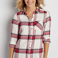 button down pink plaid shirt | maurices