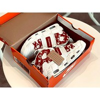 NIKE & LV x Supreme Air More Uptempo full palm air cushion high-top sneakers white&red