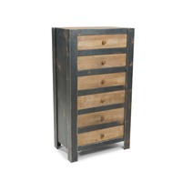 Bolt Industrial Chic 6 Drawer Dresser Natural Fir Wood