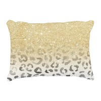 Girly trendy faux gold glitter leopard watercolor accent pillow