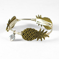 "Bourbon and Boweties Pineapple Bangle Bracelet - Silver - 7 1/2"" Standard"