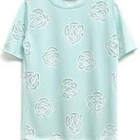 Embroidered Rose Short Sleeve Tee - OASAP.com