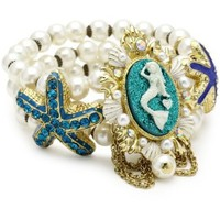 "Betsey Johnson ""Sea Excursion"" Mermaid and Starfish Stretch Bracelet - designer shoes, handbags, jewelry, watches, and fashion accessories 