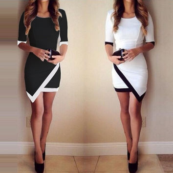 Women Fashion Half Sleeve Ladies Asymmetric Casual Dress White & Black Patchwork Elegant Dresses Bodycon Pencil Short Mini Dress ffp = 1931498692