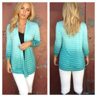 Mint Stripe Ombre Cardigan