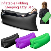 Inflatable Air Sofa 200Kg 210T Oxford 3 colors splicing single Sleeping Bag Outdoor Lazy Bag Air Bed Chair Inflatable Lounge