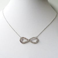Silver Rhinestone Infinity Chainmaille Necklace, Eternity Jewelry, Infinity Pendant, Forever Necklace