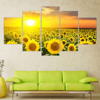 Modern Oil Painting Flower Modular Canvas Art Landscape Sun Posters and Prints Wall Pictures for Living Room 5pieces Wall Art