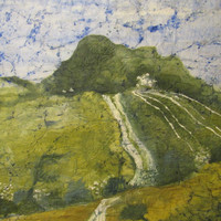 Landscape giclee print from original watercolor batik painting on Japanese rice paper distressed look vintage-like McKinzie
