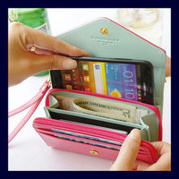 Kawaii Wrist Wallet Pouch Wristlet for Cell Phone iphone Galaxy S