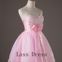 Sweetheart Sleeveless Mini Pink Organza with Crystal Sequins Sashes Bow Short Cocktail/ Evening Dresses/Wedding dress/Homecoming dress