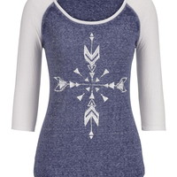 Graphic Print Baseball Tee With Shimmer - Blue
