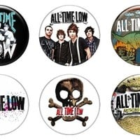 """Set of 6 New All Time Low 1.25"""" Pinback Button Badge Pin"""
