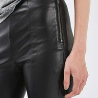 Seamed Faux Leather Trousers