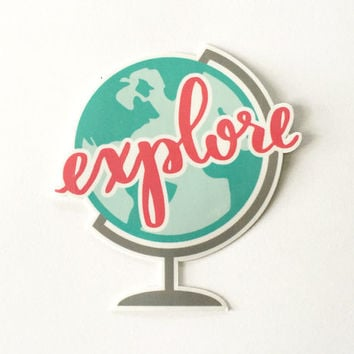 Travel Sticker, Stickers, Laptop Stickers, Travel Stickers, Planner Stickers, Explore, Globe, Travel Gifts, Gifts for Travelers, World Globe