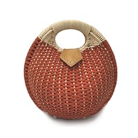 Round Wicker Bag in Red