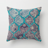 Moroccan Floral Lattice Arrangement - teal Throw Pillow by micklyn | Society6