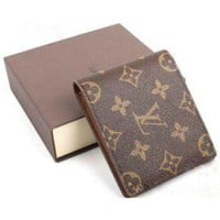 LOUIS VUITTON 1;1 MEN BROWN REAL LEATHER WALLET + BOX