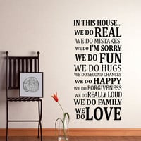 WALL DECAL Vinyl In This House We do Sticker Art Poster Living Dining Room House Rules
