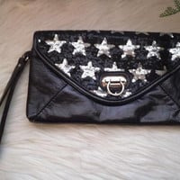 Vintage Envelope clutch With Sequined  Stars ~ Retro