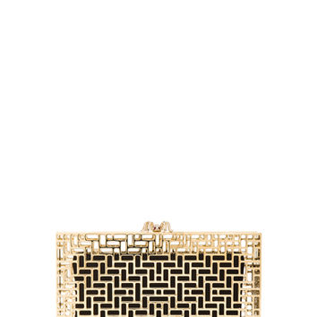 Charlotte Olympia | Lattice Pandora Clutch in Gold www.fwrd.com