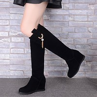 Black Flock Platform Wedges Tall Boots 3563