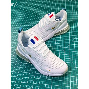 2018 World Cup Nike Air Max 270 White Gold France Logo Sport Running Shoes