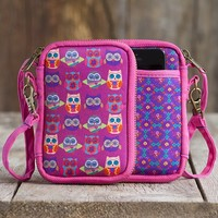 Owls  Pink  Neoprene  Wristlet  From  Natural  Life