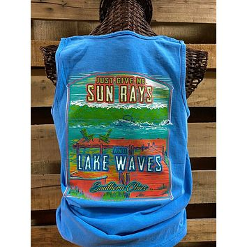 Southern Chics Sun Rays and Lake Waves Bright Comfort Colors T Shirt Tank Top