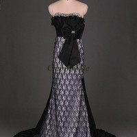 black lace and satin prom dresses for mother of the bride elegant sweep train weddin party gowns with rhinestones cheap evening dress