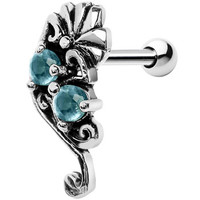 Silver 925 Aqua Gem Fan Right Cartilage Earring | Body Candy Body Jewelry
