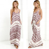 New Summer Taupe/White Tie Dye Printed Tank Dress