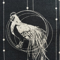 Year of the Rooster black and ivory Japanese cotton fabric