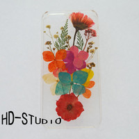 Pressed flower iphone 5 case, real flower iphone 6/ 6s/ 6s plus case, colorful flower iphone 5 /5c / 4 case