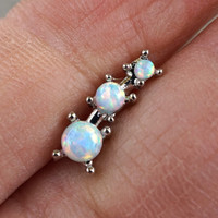 3 White Fire Opals Stud Cartilage Earring Piercing 16g
