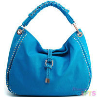 Women's Mini-Studded Fashion Hobo w/ Tassel Accent & Corset Shoulder Strap - Turquoise Color: Turquoise