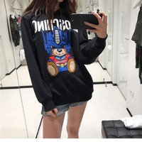 """Moschino"" Unisex Casual Fashion Letter Transformers Bear Pattern Long Sleeve Hooded Sweater Tops"