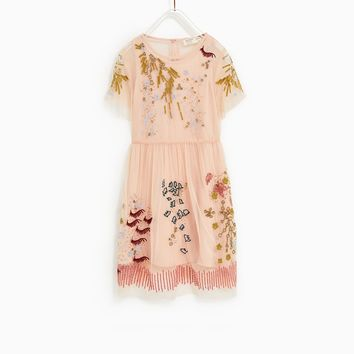 TULLE AND APPLIQUE DRESS