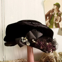 Vintage Black velvet rhinestones hat cocktail pillbox flowers hat