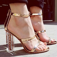 Hot Sale Popular Women Princess Transparent Crystal High Heels I13463-1