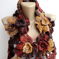 Brown floral scarf ,infinity scarf ,fall colors ,eternity scarf ,cowl ,Lariat scarf ,crocheted scarf , high quality Alize acrylic yarn