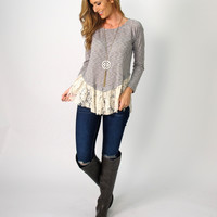 Rikkie Long Sleeve Lace Trim Top: Grey