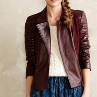NWT ANTHROPOLOGIE by ELEVENSES QUILTED LEATHER BOMBER MIXED MOTO JACKET M