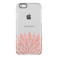 Faux Rose Gold Glitter Flower Uncommon Clearly™ Deflector iPhone 6 Case
