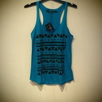 COSMIC RAY clothing — 'TRIBAL' Turquoise Print Vest Top