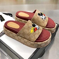 GUCCI x Disney Mickey Mouse Series Fashion Women Thick Soles Slippers Sandals Shoes