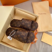 LV Louis Vuitton New letter printed cowhide women slippers couple slippers