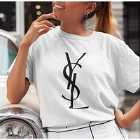 Saint Laurent YSL New fashion letter print couple top t-shirt White