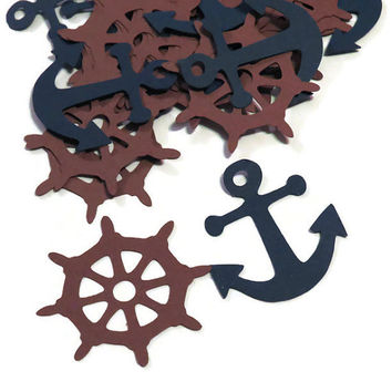 Nautical party decorations, anchor confetti, ship helms, Ready in 3-5 Business days, 100 pieces