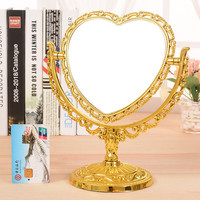 Fashion Heart Shaped Golden and Silver Double Sided Mirror desktop Makeup Table Stand Mirror